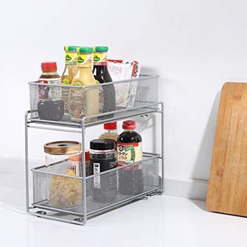 LaCyan Caj/ón organizador Organizador de Armario Apilable Caj/ón Deslizante Especiero con 2 Cestas Extra/íbles para Cocina de Almacenamiento