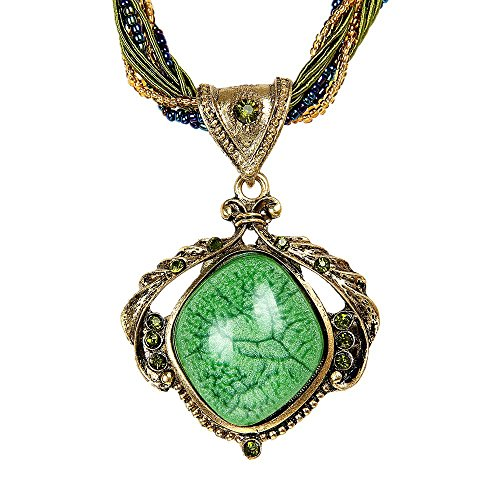 Prime Clearance Sale & Deals Day 2017-ValentoriaNew Hot Fashion Bohemian Jewelry Statement Necklaces Women Rhinestone Gem Pendant Collar (Green) Anniversary Green Pendant