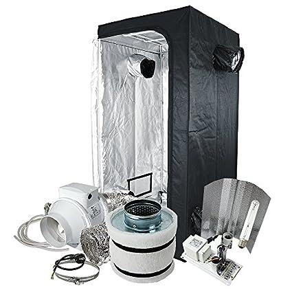 Komplett-Set Grow-Box 100x100x200-cm inkl. 400W Natriumdampflampe Beleuchtung mit HPS Blüte Leuchtmittel und 160m³ Klima-Set sowie Dünger, Erde, Töpfe, Zeitschaltuhr Grow-zelt Pflanz-zelt Grow-Set