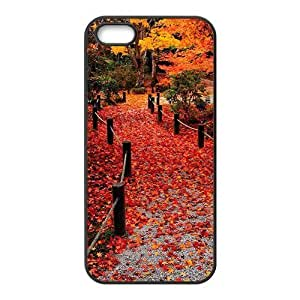 Autunm crimson maple leaves forest trail Diy For HTC One M7 Case Cover (PC)