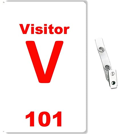 Numbered Visitor ID Badge and Clear Vinyl Strap Clip with 2-Hole - 10 Pcs  Pack (Red)