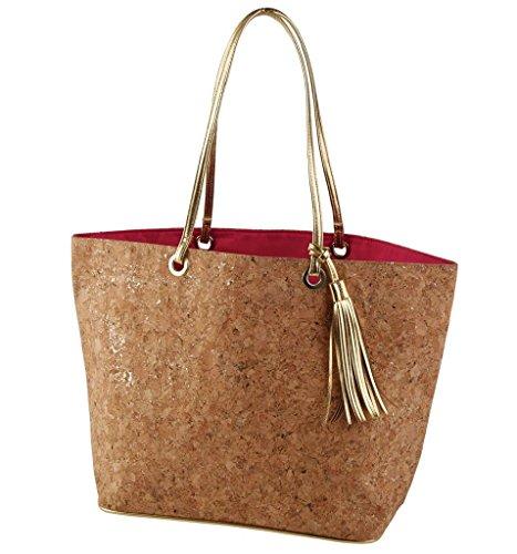 Mud Pie 8613228 Carlton Cork Tote Bag Lined