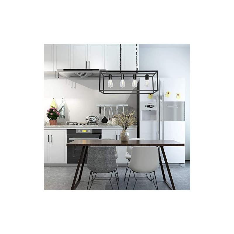 Modern Farmhouse Kitchen Island Lighting Industrial Black Chandelier Rectangle Hanging Light Fixtures for Dining Room…