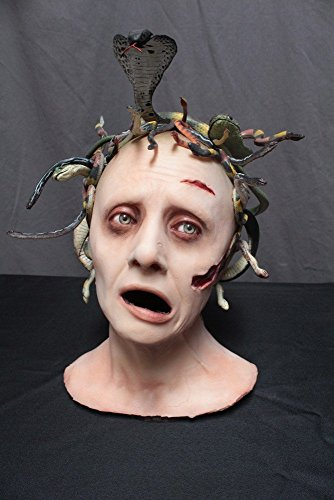 Halloween Prop - Realistic Lifesize Medusa Head With One Of A Kind Snake Arrangement