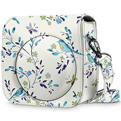 Fintie Protective Case for Fujifilm Instax Mini 8 Mini 8+ Mini 9 Instant Camera – Premium Vegan Leather Bag Cover with Removable Strap, Blue Robins