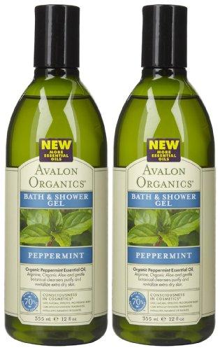 Avalon Organics Refreshing Bath & Shower Gel, Peppermint, 12 oz, 2 pk (Avalon Bath Organics Peppermint)