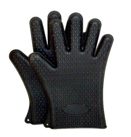 design elegante prezzo basso sfumature di Guanti da forno in silicone con le dita - Nero - Set 2 ...