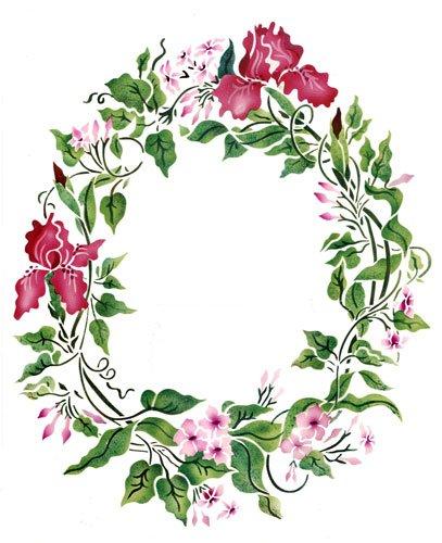 Jasmine and Iris Wreath Wall Stencil - DEE240 by DeeSigns