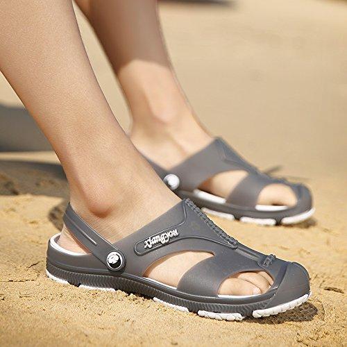 Xing Lin Sandalias De Mujer Verano Nuevo Tipo De Frenos Ahuecado Masculino Zapatillas Cool Baotou Playa Cueva Grande Baño Zapatos Sandalias De Código gray