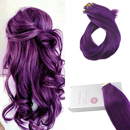 (Moresoo 18 Inch Color Deep Purple Brazilian Hair Extensions Real Hair 25g/10pcs 100% Straight Premium Remy Human Hair Extensions Seamless Tape Skin Weft for Women)