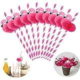 WarmShine 24 Pack 3D Flamingo Honeycomb Straws Flamingo Decorative Cocktail Drinking Straws for Hawaiian Luau/Birthday/Weddings/Pool Cocktail Party Supplies (Rose)
