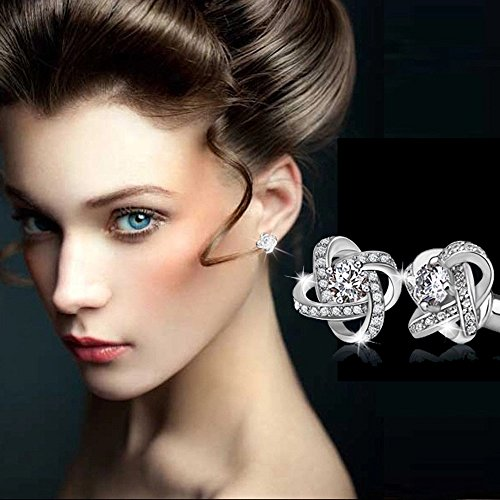 Silver Crystal Loop - Sinfu Women's Temperament Eternal Star Earrings Cross Open Loop Crystal Flower Stud Earrings Jewelry Gifts (Sliver)