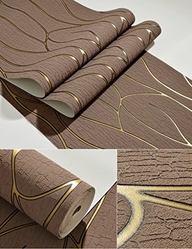 Bomeautify 3D Thicker Deerskin Suede Living Room TV Background Wallpaper Hotel Bedroom Bedside Abstract Stripes Wallpaper Brown