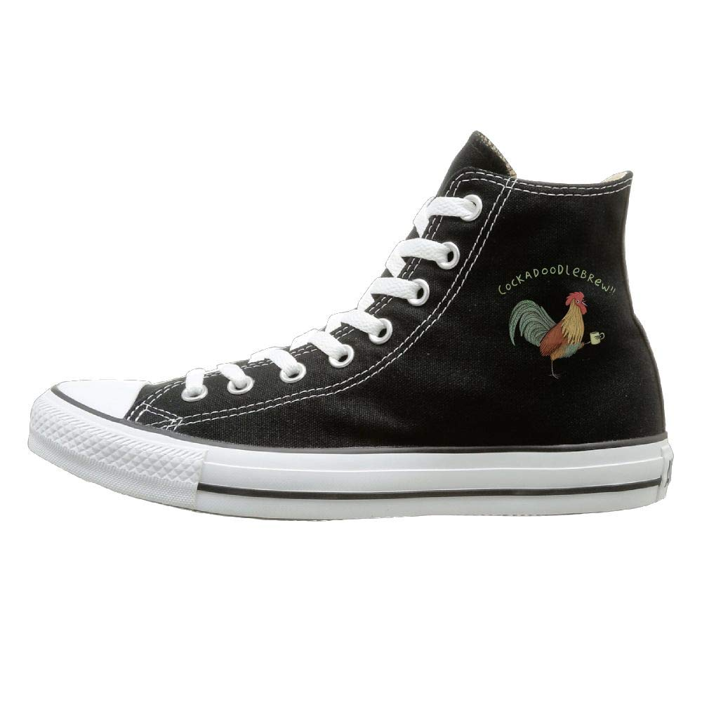 Shenigon Rooster Toast Canvas Shoes High Top Design Black Sneakers Unisex Style