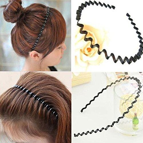 Phonphisai shop Unisex Women Zigzag Sports Soccer Metallic Wavy Hair Head Band Hair Hoop ()