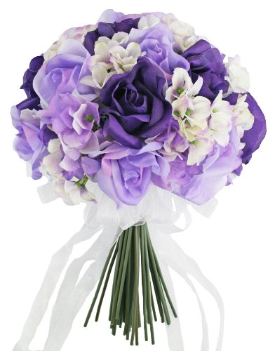 Hydrangea Rose Purple Lavender Hand Tie Medium - Silk Bridal Wedding Bouquet