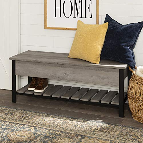 WE Furniture Modern Farmhouse Bench Hidden Storage, 48 Inch, Gray Wash (For Storage Small Entryway Benches)