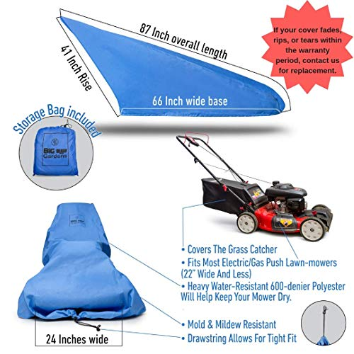 Big Blue Gardens Premium Waterproof Lawn Mower Cover - Heavy Duty 600D Marine Grade Fabric - Universal Fit - Weather & Grime Protection - Drawstring Storage Bag - Unique Blue Color Reduces Heat