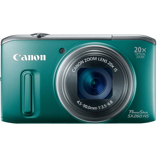 (Canon PowerShot SX260 HS 12.1 MP CMOS Digital Camera with 20x Image Stabilized Zoom 25mm Wide-Angle Lens and 1080p Full-HD Video (Green) (OLD)