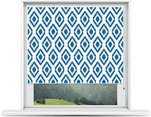 ShadePix Custom Printed Window Shade – Blackout Window Shade with available in size 33 x 36 Ikat Navy