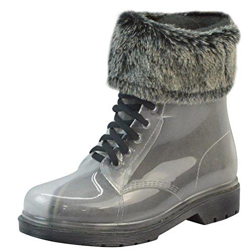 LvRao Mujer Boots de Goma de Lluvia Nieve Calentar Botas de Tobillo Transparente Impermeable Bota Corto con Cordones de Zapatos Negro con Pelaje