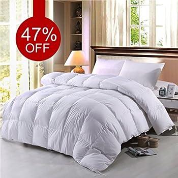 Elegant BTWZM Goose Down Comforter, Natural Materials Hypoallergenic Duvet Insert Comforter  California King Size, 100