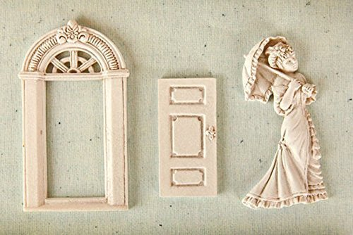 door Window Victorian Girl with Umbrella Mold Sugarcraft Molds Polymer Clay Cake Border Mold Soap Molds Resin Candy Chocolate Cake Decorating Tools
