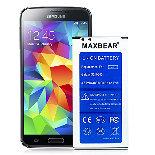 Galaxy S5 Active Battery ,MAXBEAR [3300mAh] Replacement Li-Ion Battery for Samsung Galaxy S5 Active SM-G870 ( AT&T ) & Galaxy S5 Sport SM-G860 (Sprint)| S5 Spare Battery [12 Month Warranty]