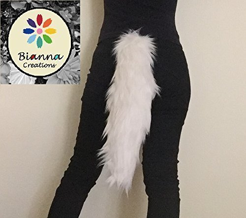 Bianna Creations Ivory Off White Faux Fur Animal Cosplay Tail, 25