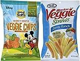 Sensible Portions Zesty Ranch Garden Veggie Straws, 7 oz & Disney Mickey Mouse Shaped Veggie Chips Children's Healthy Snacks 6.75 Oz (2)