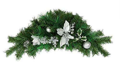 Northlight 30'' Pre-Decorated Silver Poinsettia, Pine Cone and Ball Artificial Christmas Swag - Unlit by Northlight