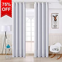 TEKAMON Thermal Insulated Blackout Room Darkening Grommet Curtains for Living Room/Bedroom (2 Panels, W52 X L84 Inches,Granny White)