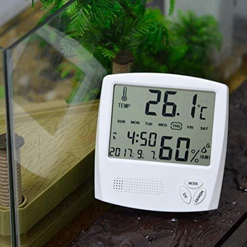 iwobi Num/érique Thermom/ètre Hygrom/ètre Int/érieur Ext/érieur,Maison Mini Horloge Digital Blanc