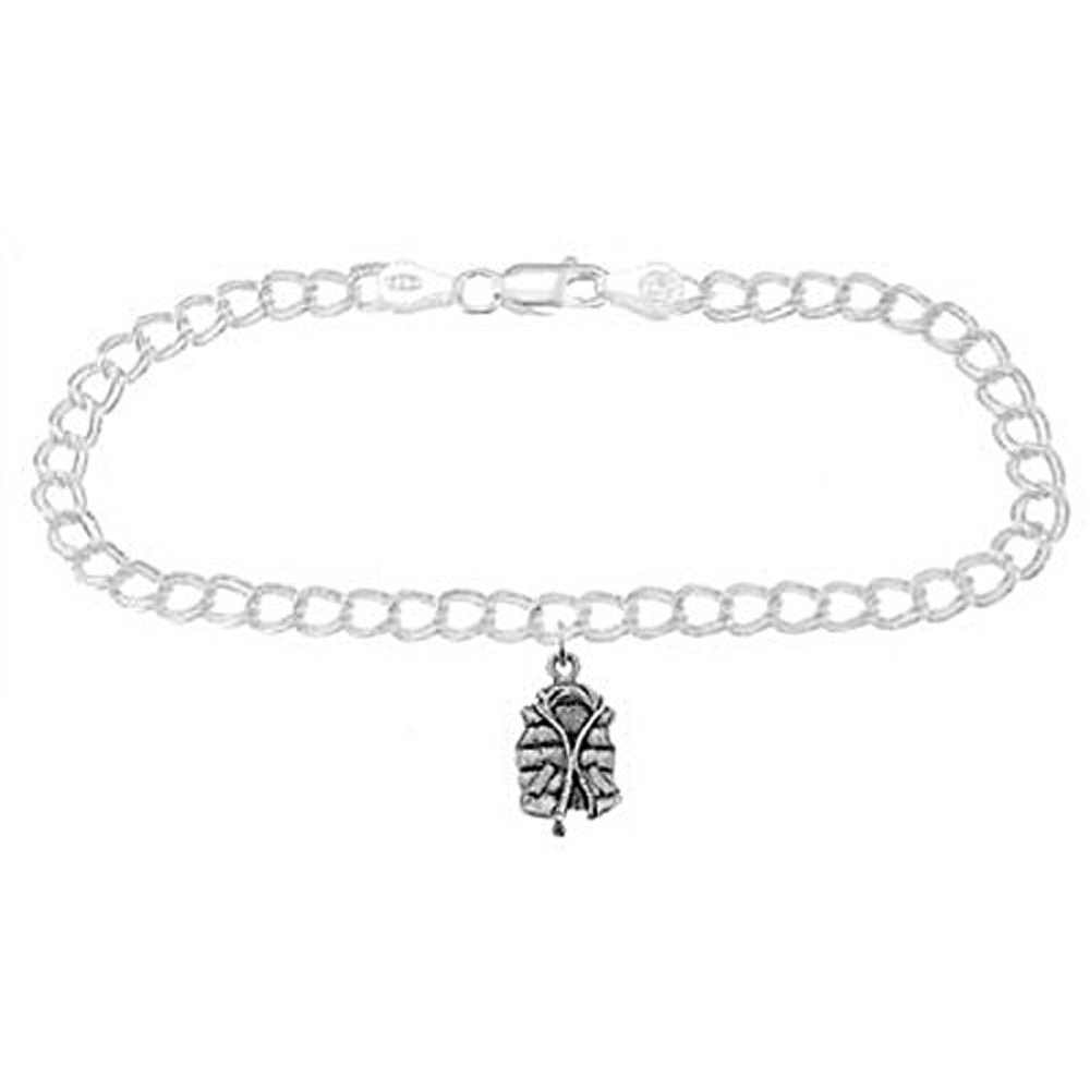 Sterling Silver Life Jacket on 4 Millimeter Charm Bracelet (7 Inches)