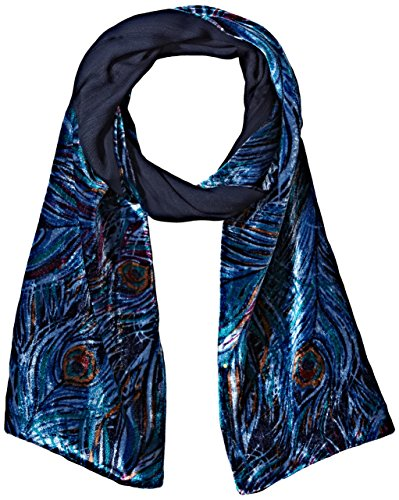 Collection Xiix Women's Peacock Velvet Scarf, tundra blue...