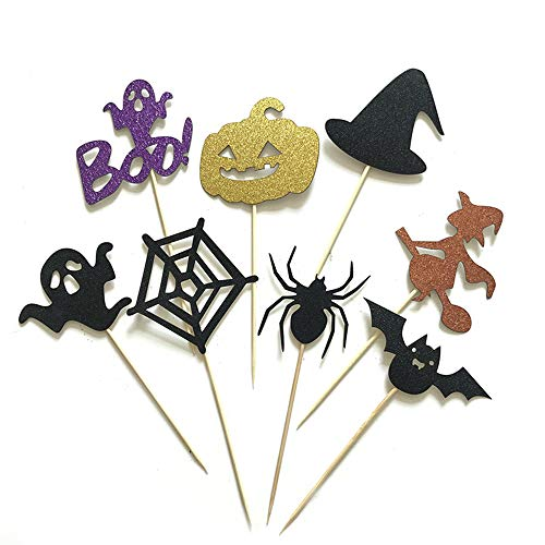 DIY Halloween Cake Toppers Decorative Cupcake Picks Ghost/bat/Witch/Spider / Pumpkin Pattern Cupcake Toppers for Halloween Themed Party, -