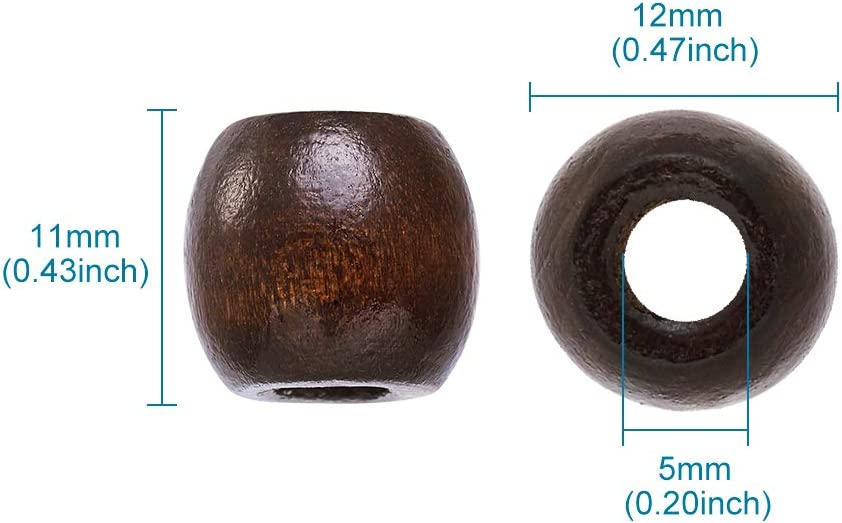 Kissitty 100-Piece 12x11mm Large Hole CoconutBrown Barrel Wood Beads with 5mm Hole Lead Free for DIY Jewelry Making