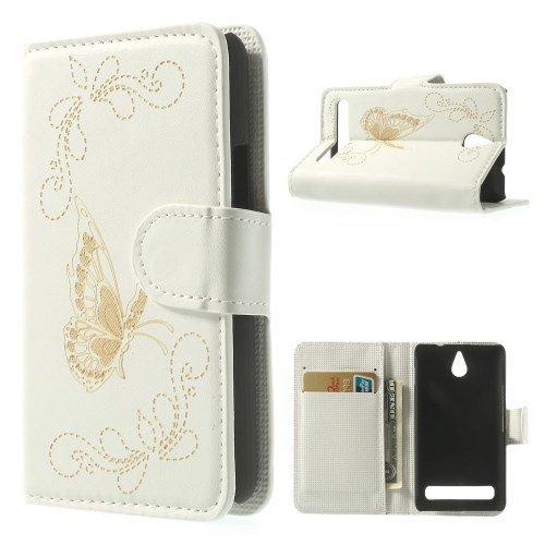 Bolsa de de caja del teléfono móvil del caso del tirón de negocios de parachoques de la cubierta de Sony Xperia E1 piel de cocodrilo mirada de cocodrilo color de color blanco mariposa