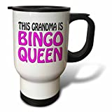 Travel Mug for Women This Grandma Is Bingo Queen Hot Pink Novelty Travel Mug with Handle Stainless Steel 14oz Tea Cup Gifts Coffee Mug