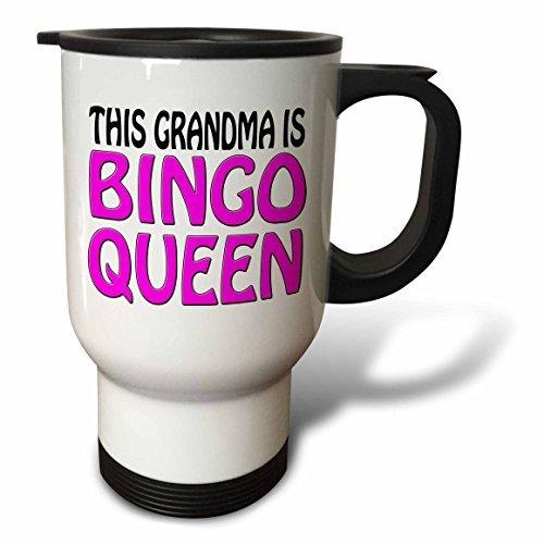 Travel Mug for Women This Grandma Is Bingo Queen Hot Pink Novelty Travel Mug with Handle Stainless Steel 14oz Tea Cup Gifts Coffee Mug