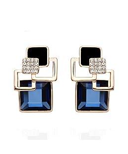 Pstars Vintage Square Crystal Geometric Earrings Vintage Fashion Fine Gold Jewelry