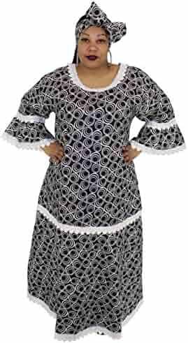 91f3b07dbd16d African Planet Womens Wax Print Dress Maxi dakshi Inpsired with Gele  headwrap