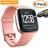QIBOX Screen Protector Compatible Fitbit Versa, 3 Pack Waterproof Tempered Glass Screen Protector Compatible Fitbit Versa Smart Fitness Watch Tracker [Ultra Clear/Scratch Resistant/Anti-Bubble]