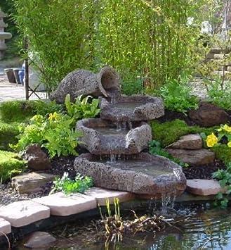 Ánfora 4 piezas de madera de vs, Lagrit bomba fuente del jardín fuente de piedra característica de agua felsbrunnen: Amazon.es: Hogar