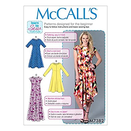 Amazon.com: McCalls Ladies Easy Learn to Sew Sewing Pattern 7382 ...