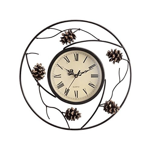 (SPI Home Pinecone Wall Clock, White, 2.5