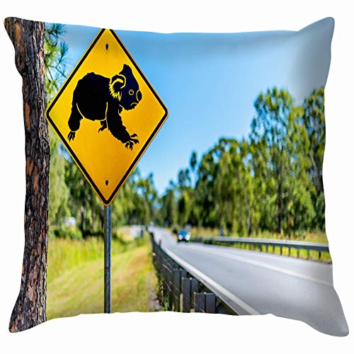 Koala Road Crossing Sign Permanently Erected Aluminium Pillow Case Throw Pillow Cover Square Cushion Cover 20X20 Inch -