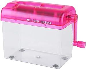 Manual Shredder, Hand Crank File Paper Shredder Heavy Duty Color Paper Cut Shredder for Office Home School, Blue, Pink, Orange, Grey Shredder Optional(pink)
