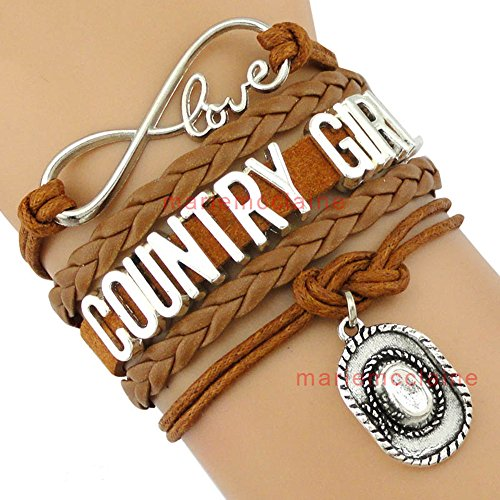 NA Country Girl Bracelet Multi strand Cowgirl Rodeo Western Brown