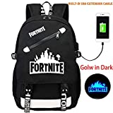 KELYNN Fortnite Luminous Backpack for Boys Fortnite College School Backpack with USB Charging Port Travel Computer Book Bag